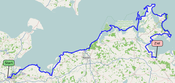 Ostseeradweg Lübeck Stralsund Karte.Geotrekking De Ostseeradweg